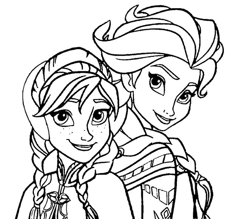 Coloriage à imprimer gratuit reine des neiges - Portraits d'Anna et Elsa