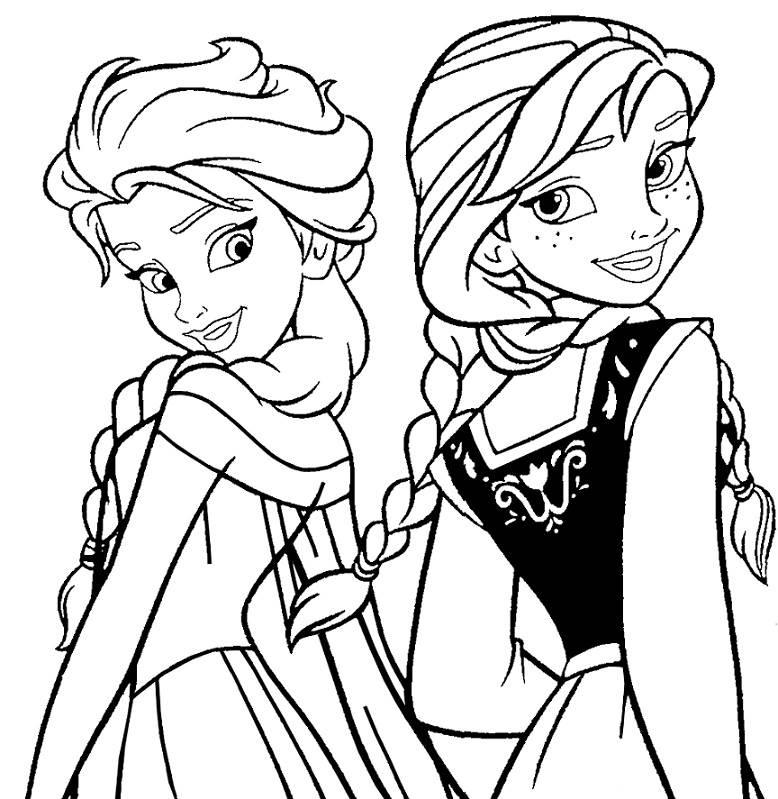 Coloriage à imprimer gratuit reine des neiges - Anna et Elsa en robes de princesses