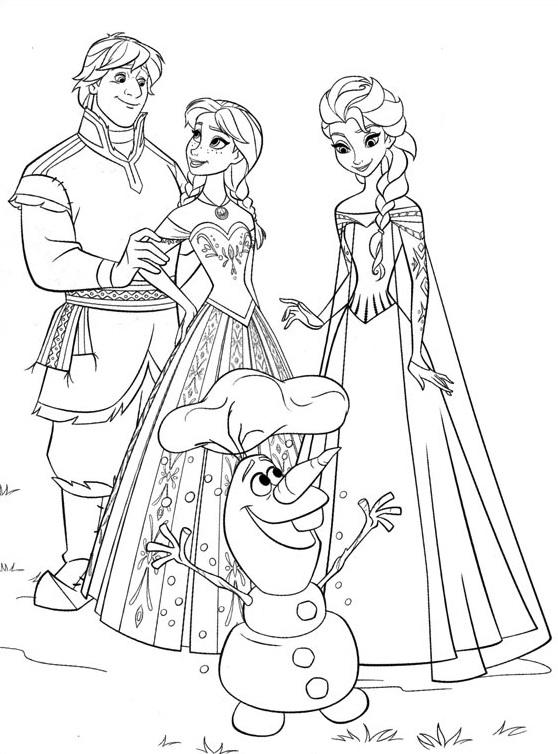 Coloriage à imprimer gratuit Reine des Neiges - Elsa, Anna, Kristoff, Olaf - Disney