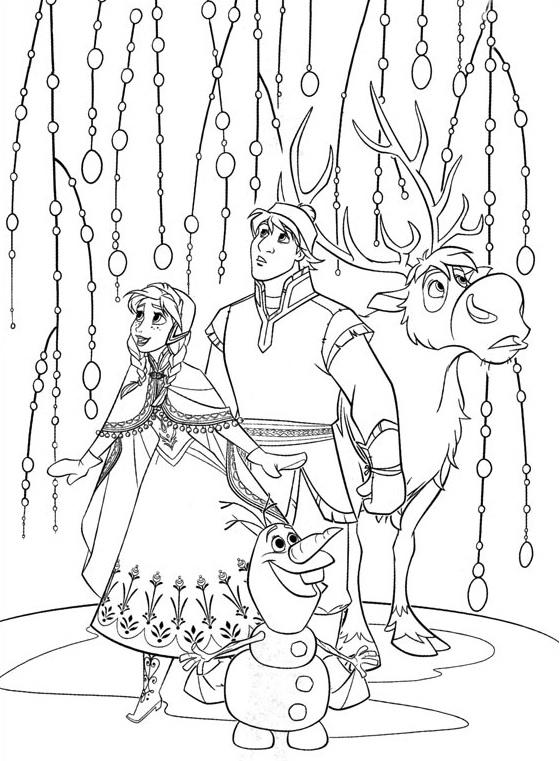 Coloriage à imprimer gratuit Reine des Neiges - Anna, Kristoff, Olaf, Sven - Disney