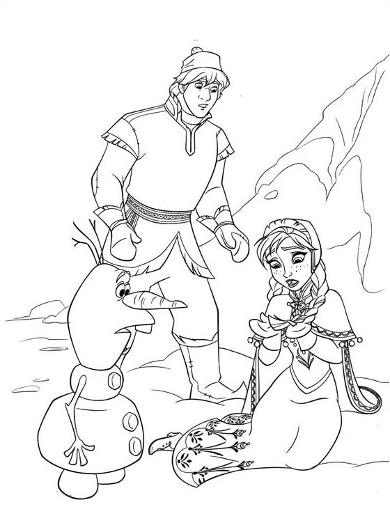 Coloriage à imprimer gratuit Reine des Neiges - Kristoff, Anna, Olaf - Disney