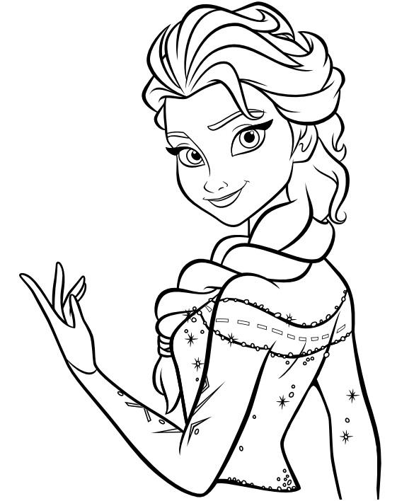 Coloriage à imprimer gratuit Reine des Neiges - La princesse et reine Elsa