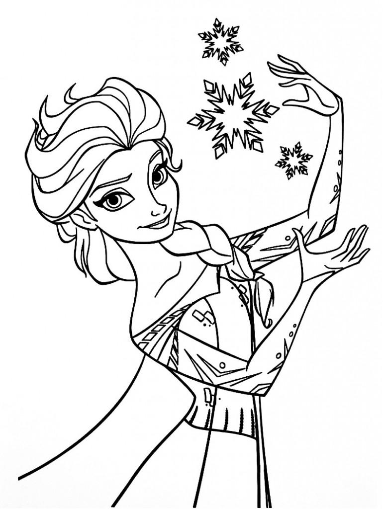 Coloriage à imprimer gratuit reine des neiges - Elsa et les cristaux de neige