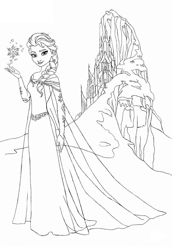Coloriage à imprimer reine des neiges - Elsa et son château de glace