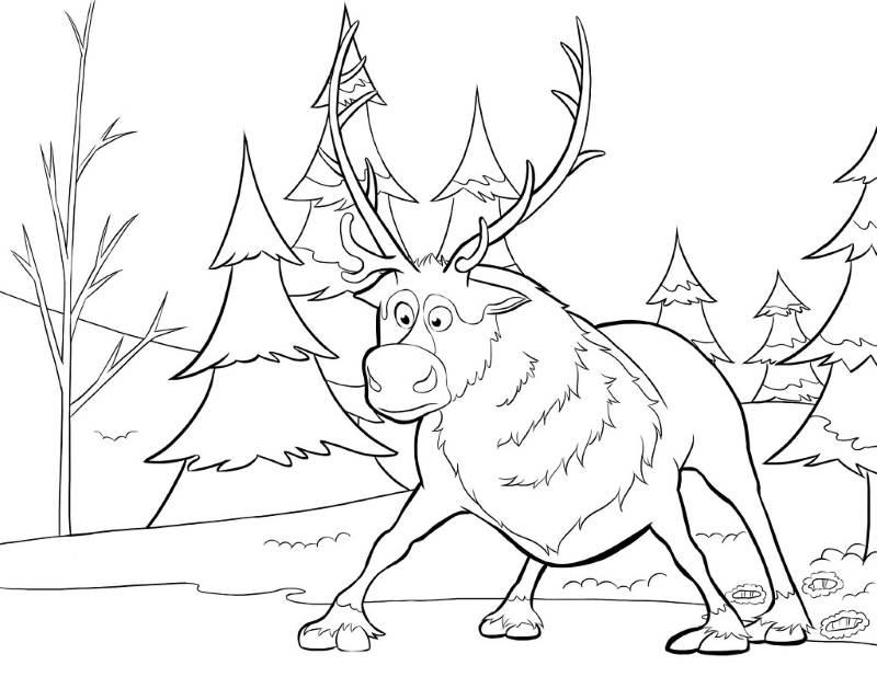 Coloriage Reine des Neiges - Sven en mauvaise passe