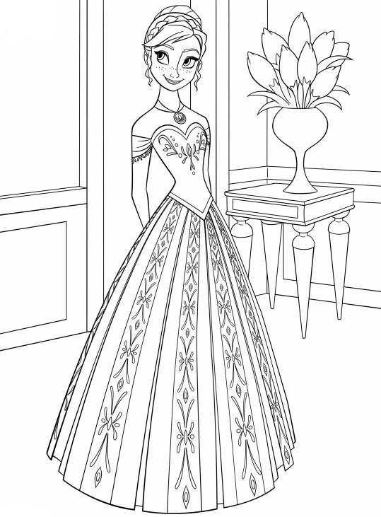 Coloriage à imprimer gratuit reine des neiges - Anna en robe de princesse