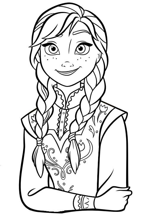Coloriage à imprimer gratuit reine des neiges - Portrait d'Anna - Disney