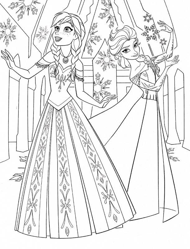Coloriage à imprimer reine des neiges - Anna et Elsa heureuses