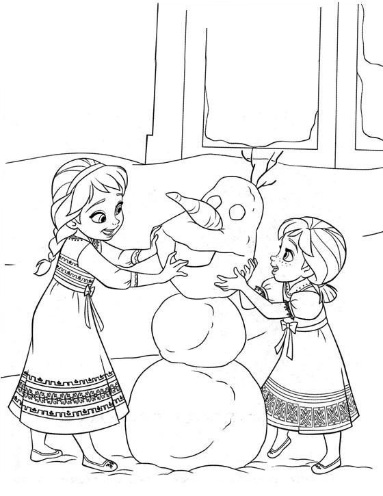 Coloriage à imprimer gratuit Reine des Neiges - Elsa et Anna enfants faisant un bonhomme de neige