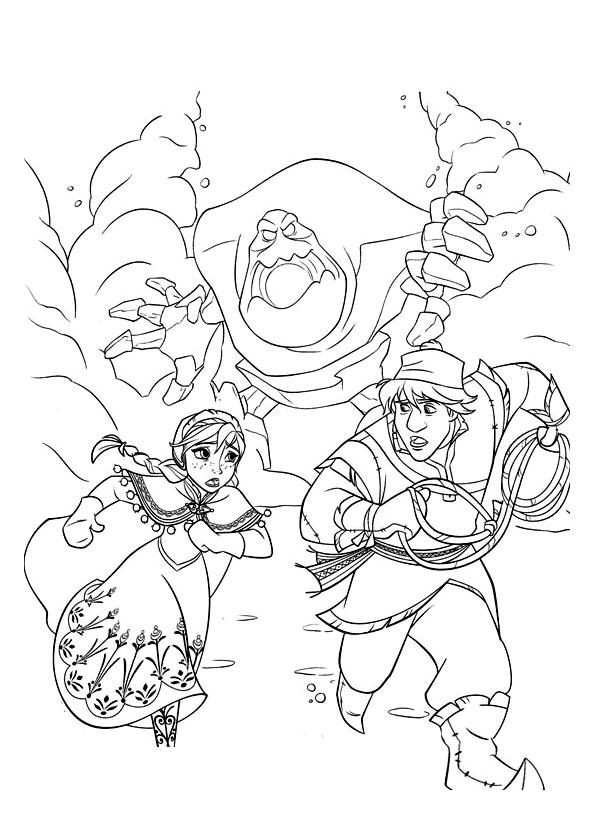 Coloriage à imprimer gratuit reine des neiges - Kristoff et Elsa poursuivis par Guimauve