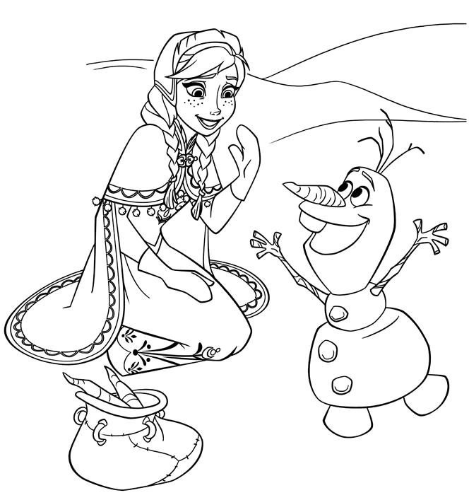 Coloriage Reine des Neiges à imprimer - Anna est amusée par Olaf
