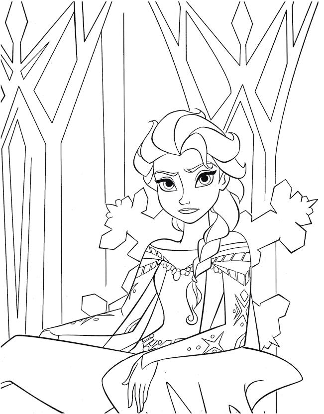 Coloriage Reine des Neiges à imprimer - Elsa sur son trône