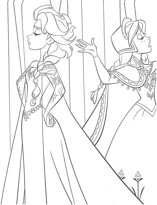 Coloriage Reine des Neiges à imprimer - Elsa et Anna se font la tête