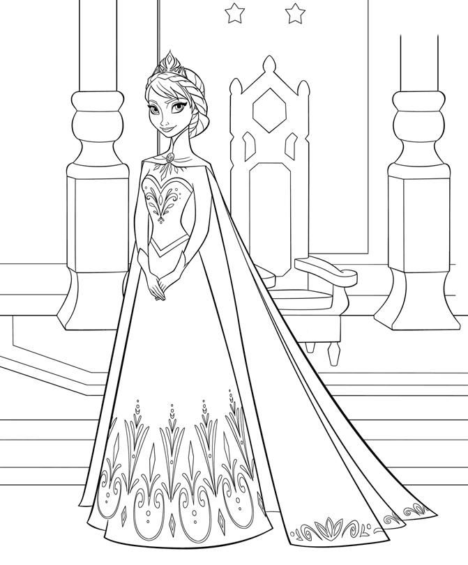 Coloriage Reine des Neiges à imprimer - Elsa et son trône