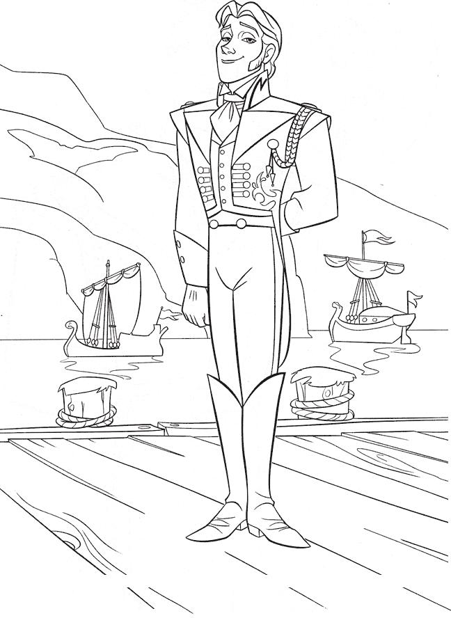Coloriage Reine des Neiges à imprimer - Le prince Hans