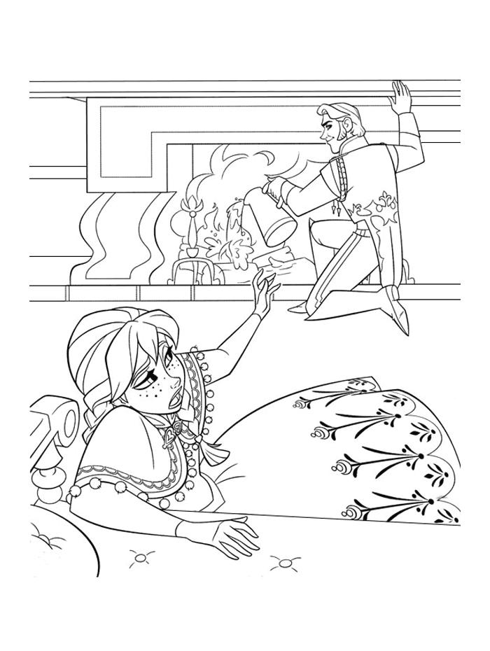 Coloriages Reine des Neiges - Anna a peur de Hans