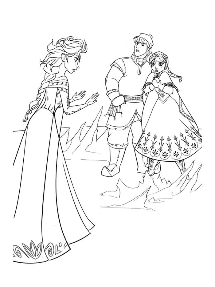 Coloriages Reine des Neiges - Anna a peur des pouvoirs d'Elsa