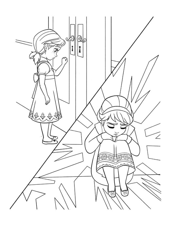 Coloriage Reine des Neiges - Anan et Elsa enfants