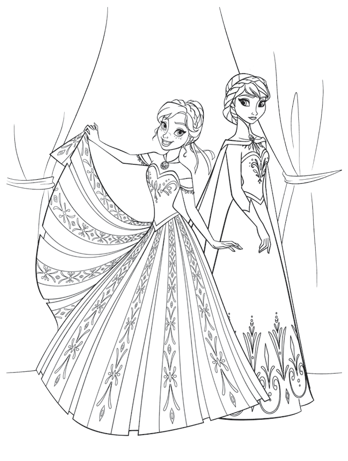 Coloriages Reine des Neiges - Elsa et Anna en robes de princesses