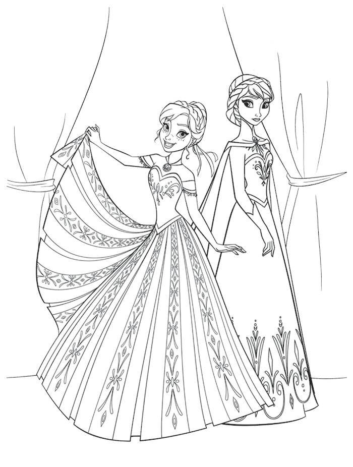 Coloriages Reine des Neiges - Elsa et Anna en robes de princesses