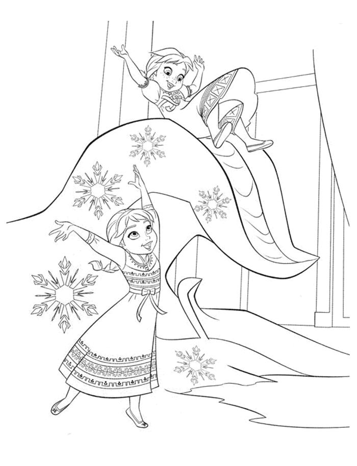 Coloriage Reine des Neiges - Anna et Elsa jouent sur la glace