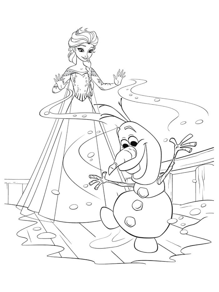 Coloriages Reine des Neiges - Olaf est content des pouvoirs d'Elsa