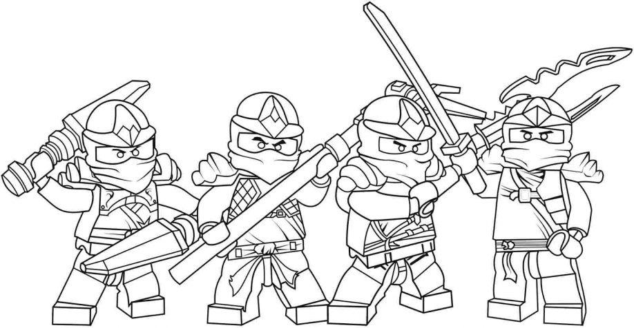 Coloriage Ninjago - Coloriage de toute l'équipe des ninjas