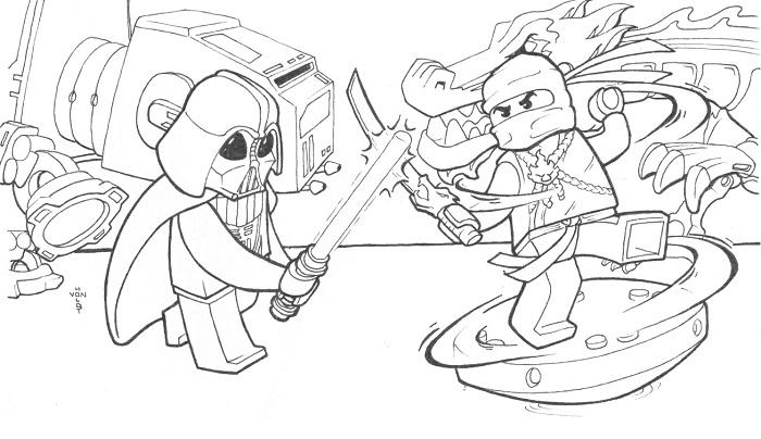 Coloriage Ninjago - Dark Vador contre un Ninjago