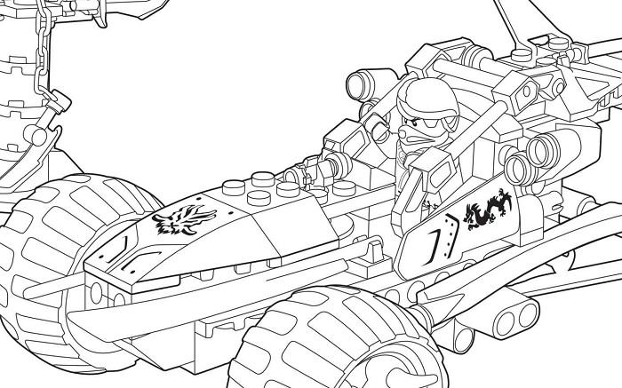 Coloriage Ninjago - Un ninja dans un véhicule de Ninjago