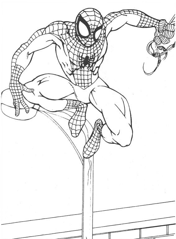 Coloriage Spiderman à imprimer - En l'air