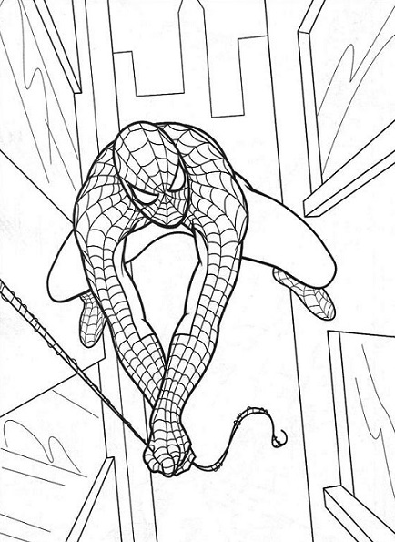 Coloriage Spiderman vole entre les immeubles