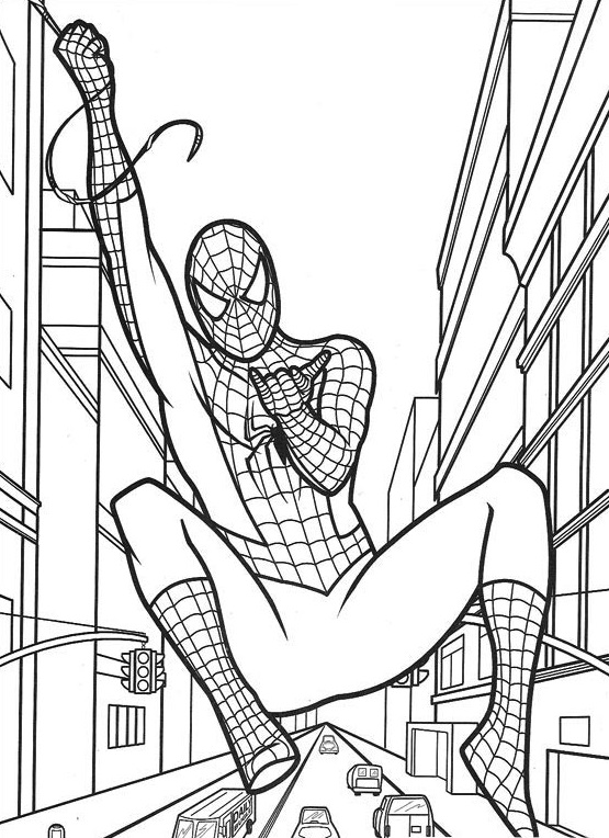Coloriage de Spiderman qui vole accroché à sa toile