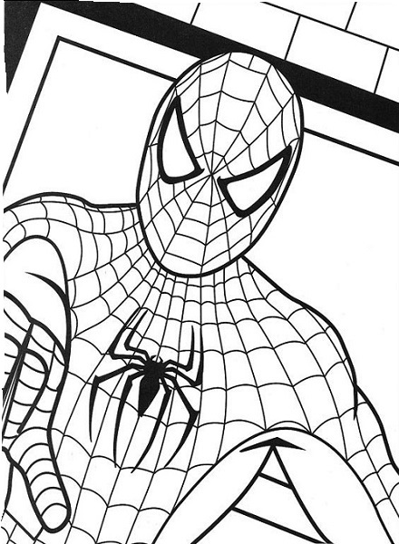 Coloriage de Spiderman - Portrait et buste de face