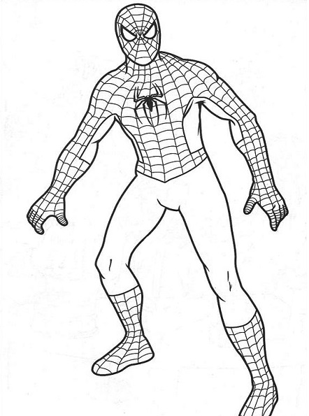 Coloriage de Spiderman tout simple sur fond blanc