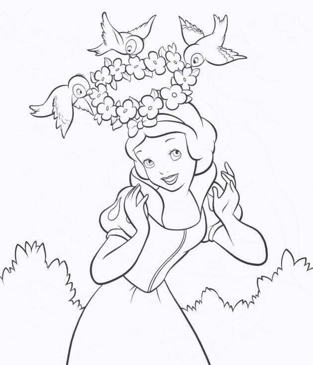 Coloriage de princesse à imprimer gratuit - Blanche-Neige