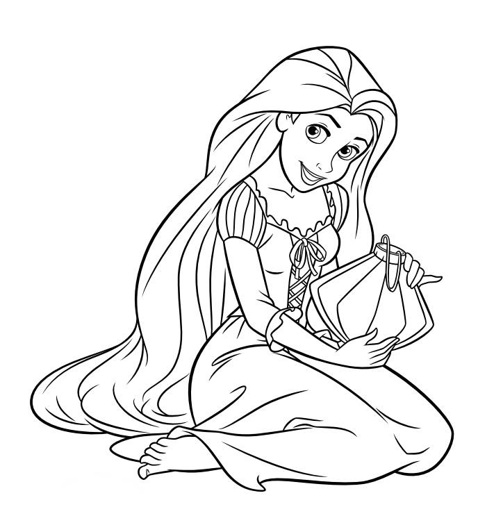 Coloriage de princesse à imprimer gratuit - Raiponce 3