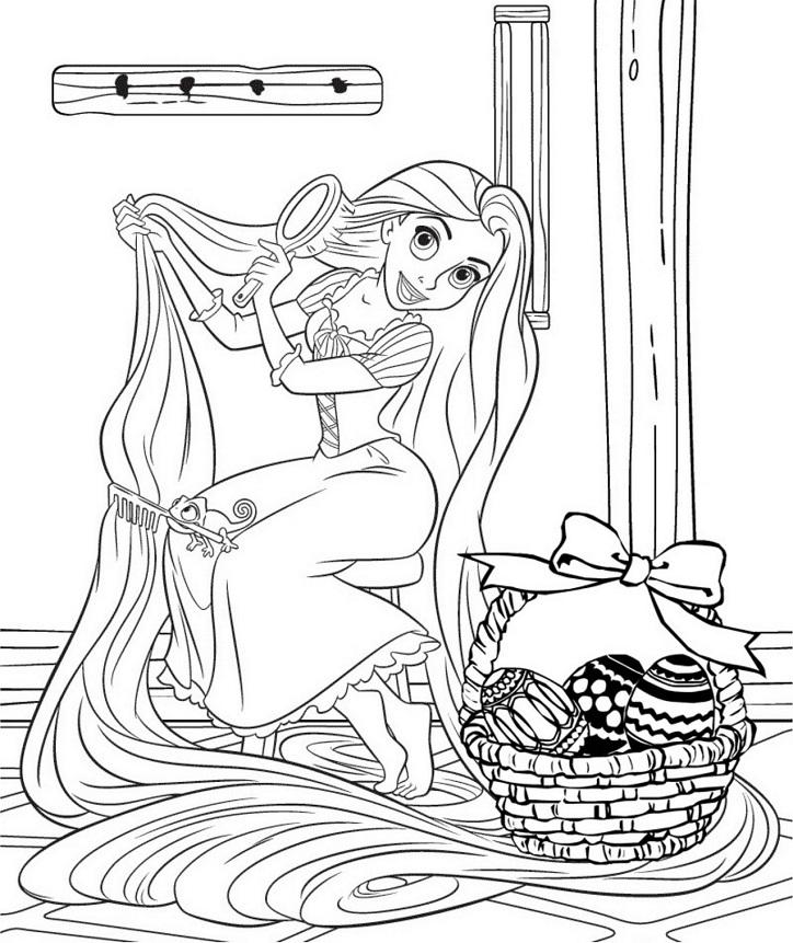 Coloriage de princesse à imprimer gratuit - Raiponce 4