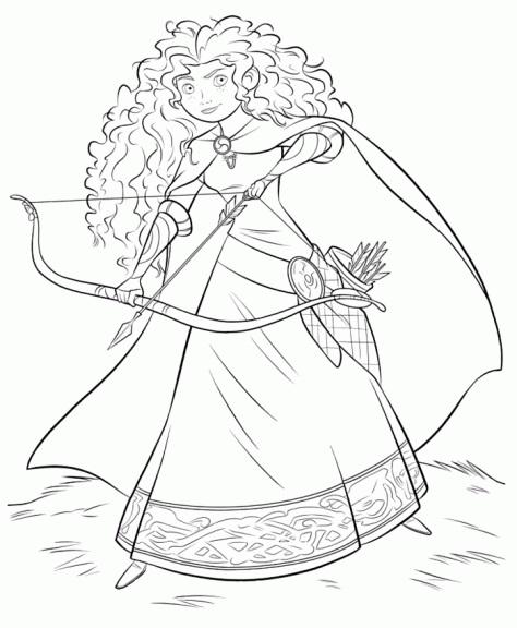 Coloriage de princesse à imprimer gratuit - Merida 2 - Rebelle