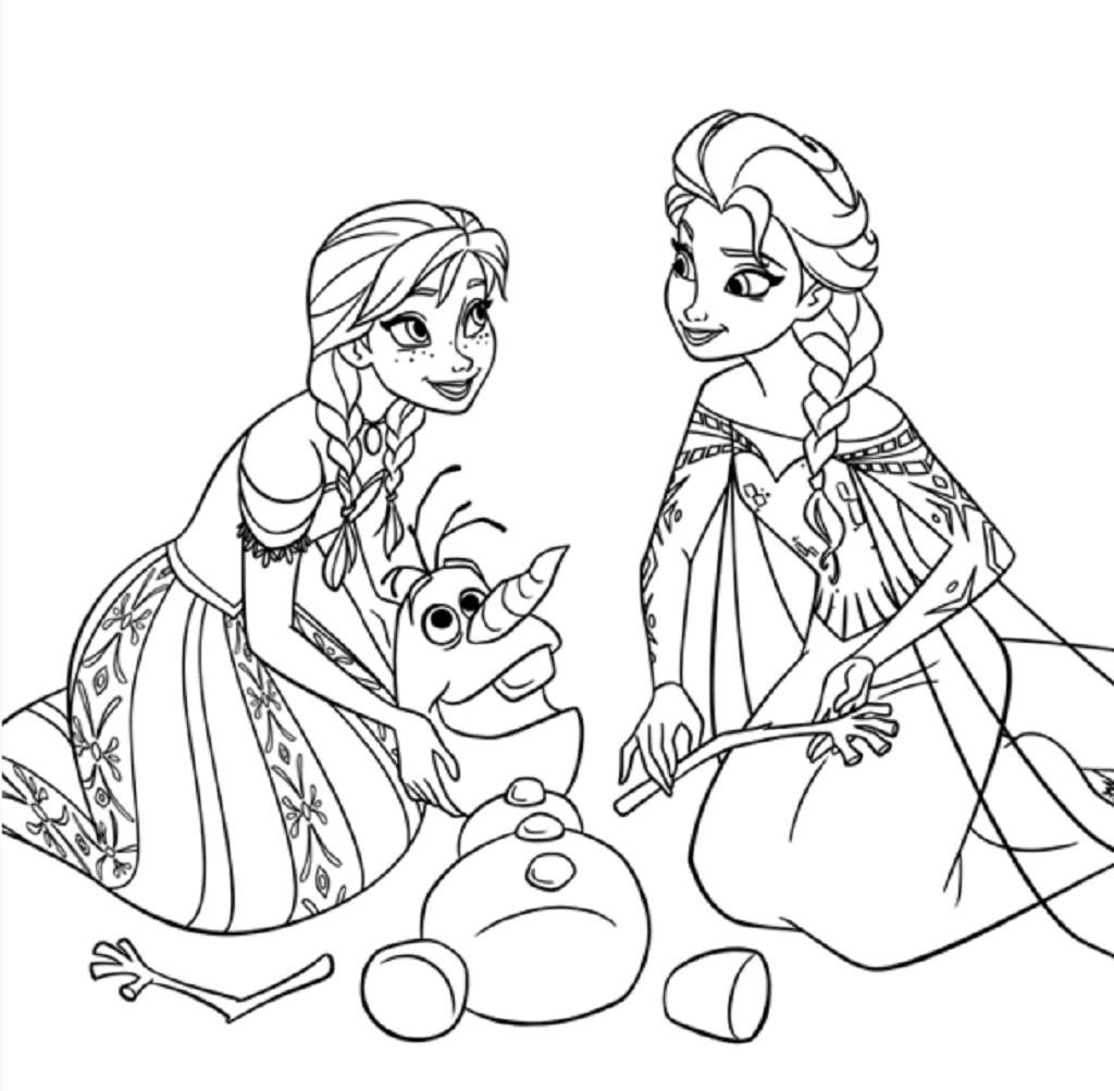 Coloriage de princesse à imprimer gratuit - Anna, Elsa (et Olfa ^^) - Reine des Neiges