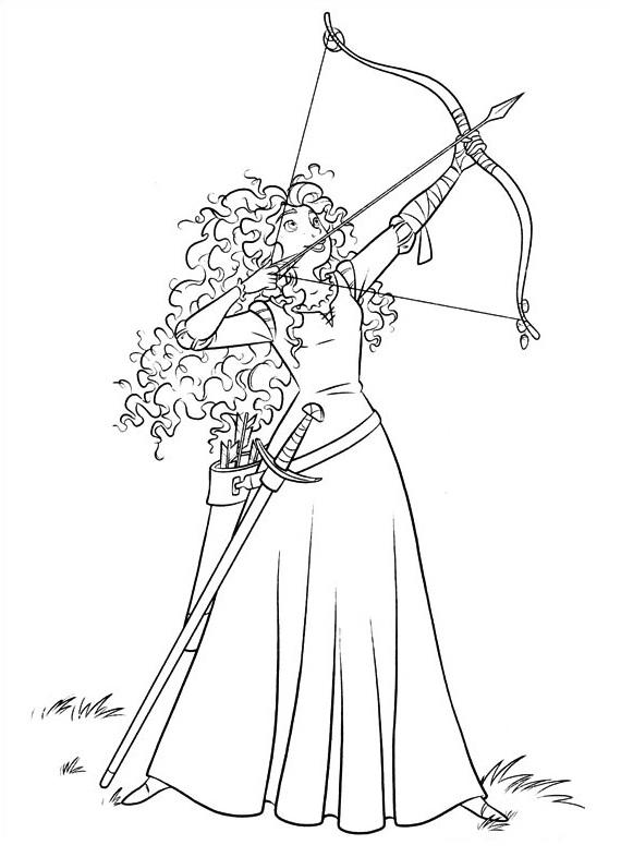 Coloriage de princesse à imprimer gratuit - Merida - Rebelle