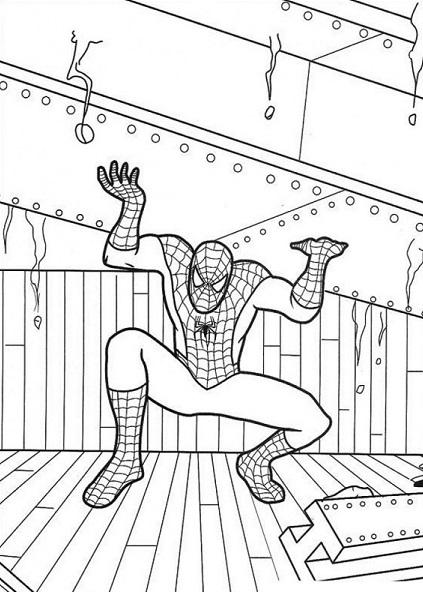 Coloriage gratuit de Spiderman qui porte une grosse poutrelle métallique