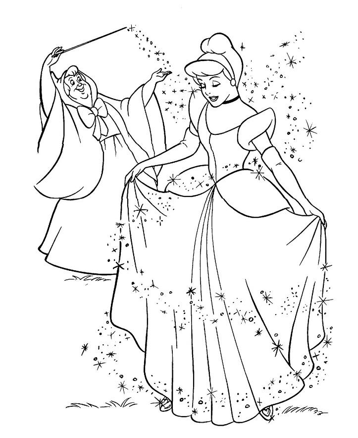 Coloriage princesse à imprimer gratuit - Cendrillon