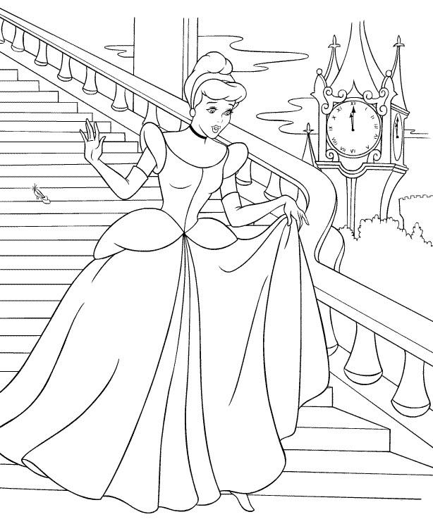 Coloriage princesse à imprimer gratuit - Cendrillon 2