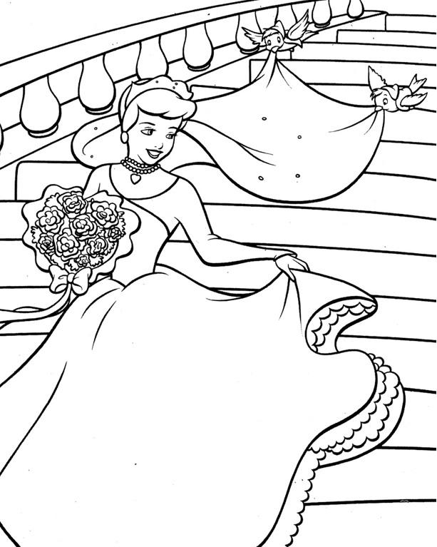 Coloriage princesses à imprimer gratuit - Cendrillon 4