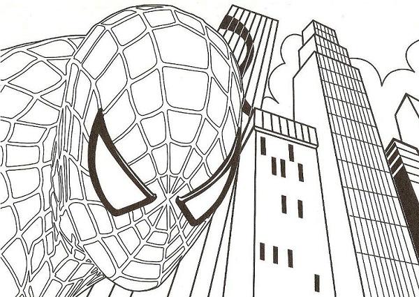 Spiderman coloriage à imprimer avec la ville en fond