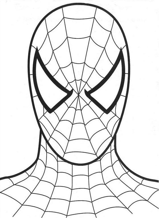 Tête de Spiderman à imprimer sur fond blanc, toute simple
