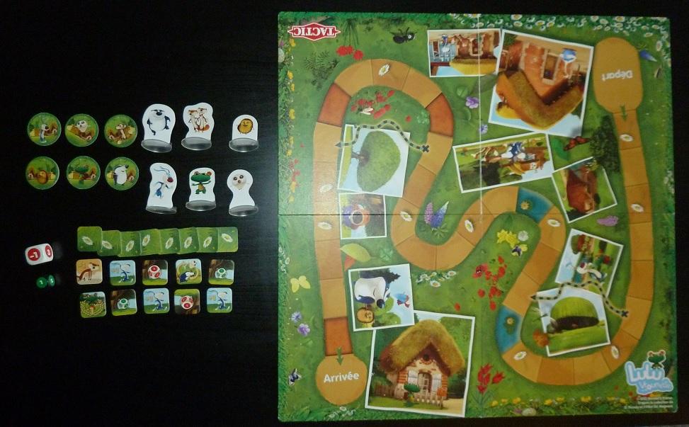 Contenu du jeu de société pour enfants Lulu Vroumette
