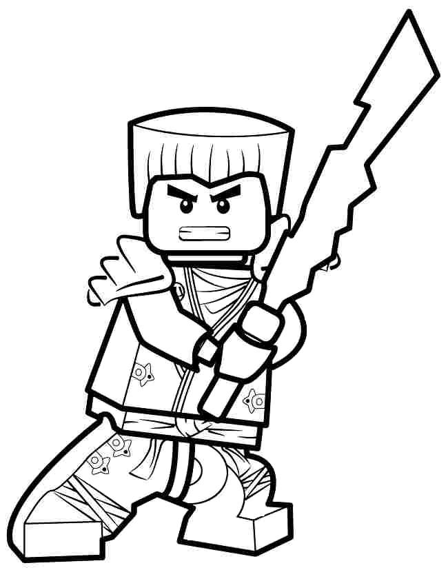 Coloriage gratuit de Ninjago à télécharger et imprimer - Coloriage Zane le ninja blanc