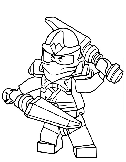 Coloriage gratuit de Ninjago à télécharger et imprimer - Coloriage Ninjago ninja bleu Jay