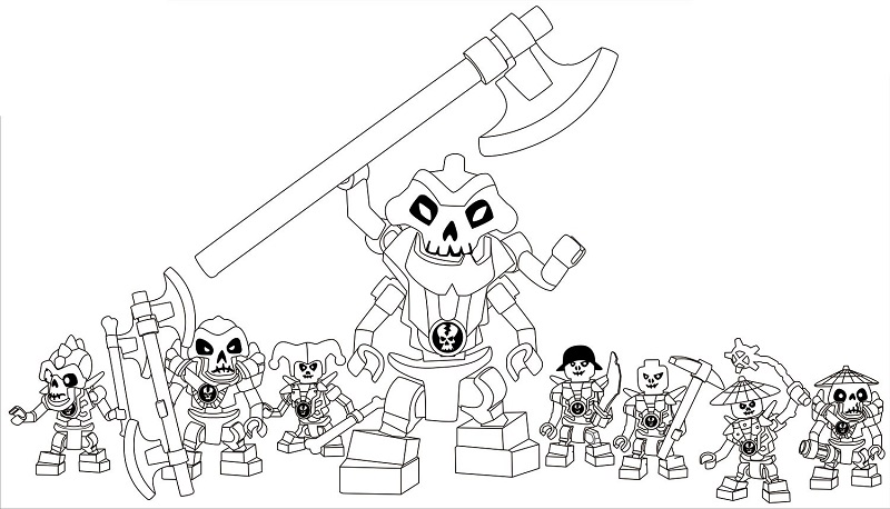 Coloriage gratuit à imprimer Ninjago - squelettes 1